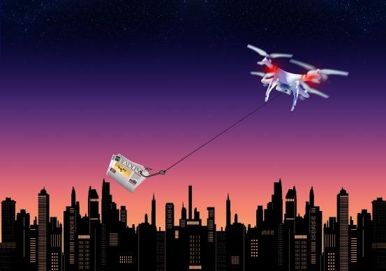 drone volando, repartiendo un paquete